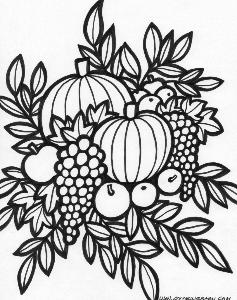 Thanksgiving Arrangement Coloring Page With Images