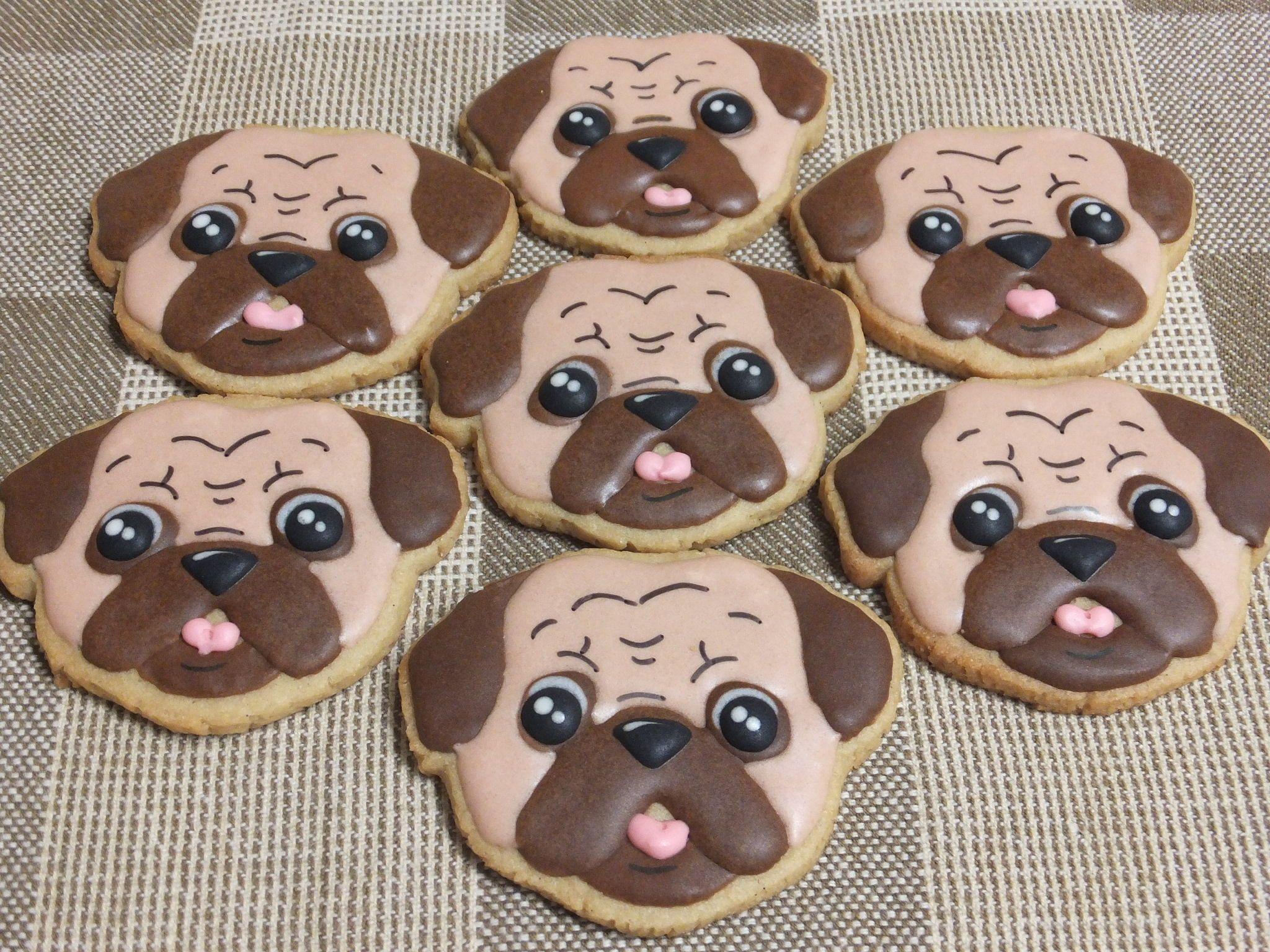 Pug dog cookies | Animal Cookies | Pinterest | Galleta, Mujeres con ...