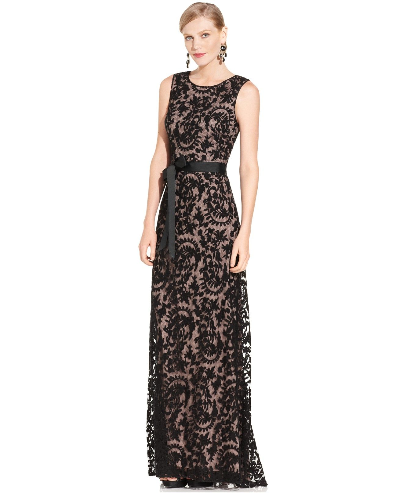 Adrianna Papell Petite Sleeveless Lace Gown - Dresses - Women ...