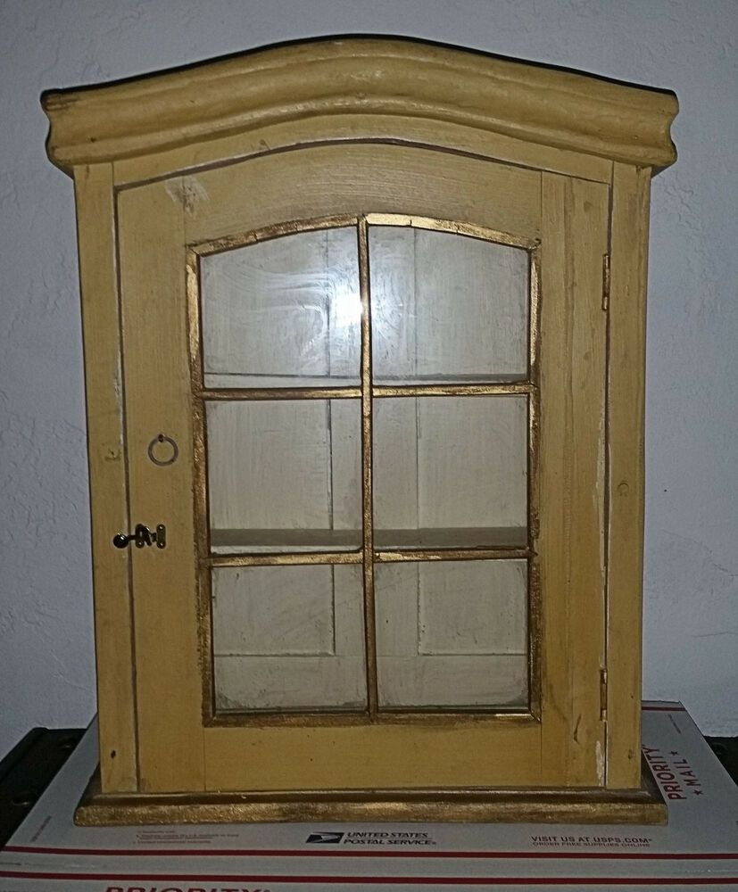Vintage Small Curio Wood Glass Display