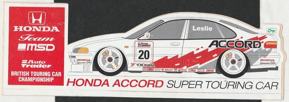 Honda Accord Super Touring Team Msd Btcc Original Period Sticker - Honda accord decals stickers