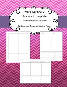 Word Sorting And Flashcard Template We Created These Handy