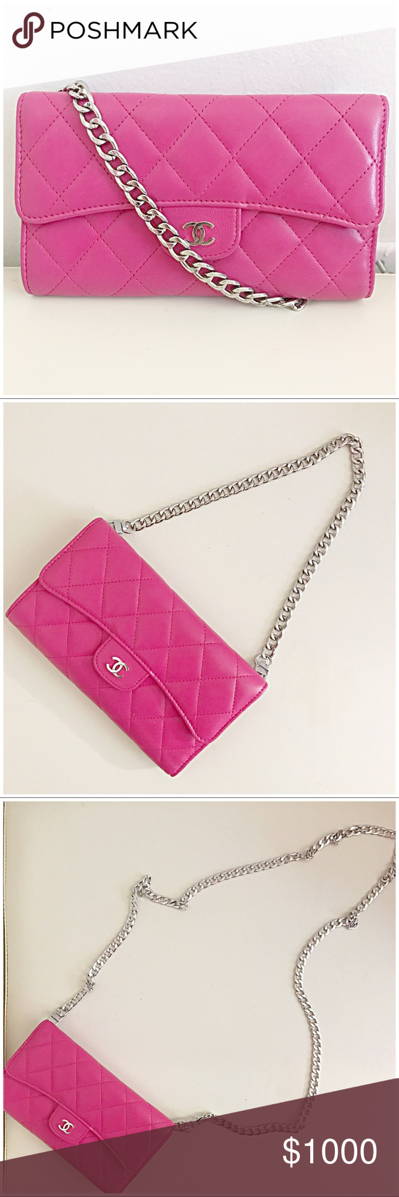 1d17e4670ab9 Authentic Chanel Classic Flap Wallet On Chain Pink This gorgeous authentic Chanel  Classic Flap Wallet On