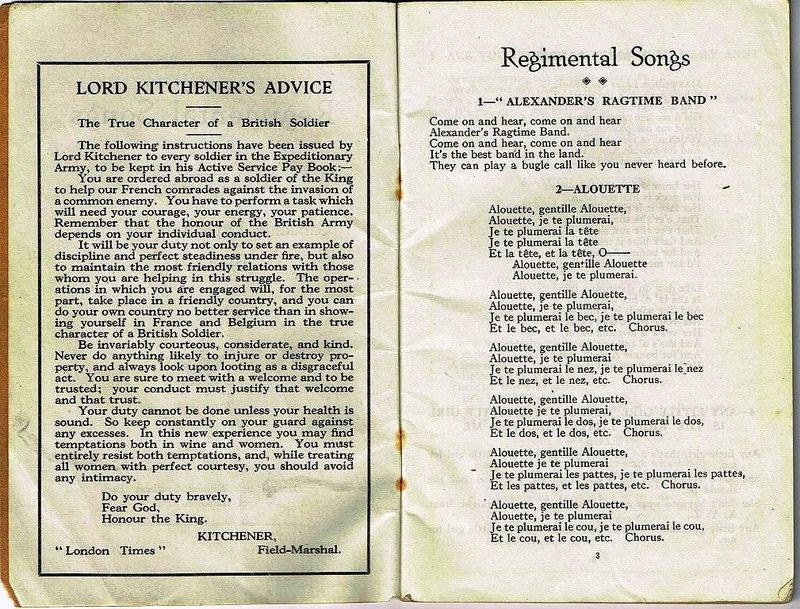 Regimental Songs Canadian Expeditionary Force 1914 - 1915