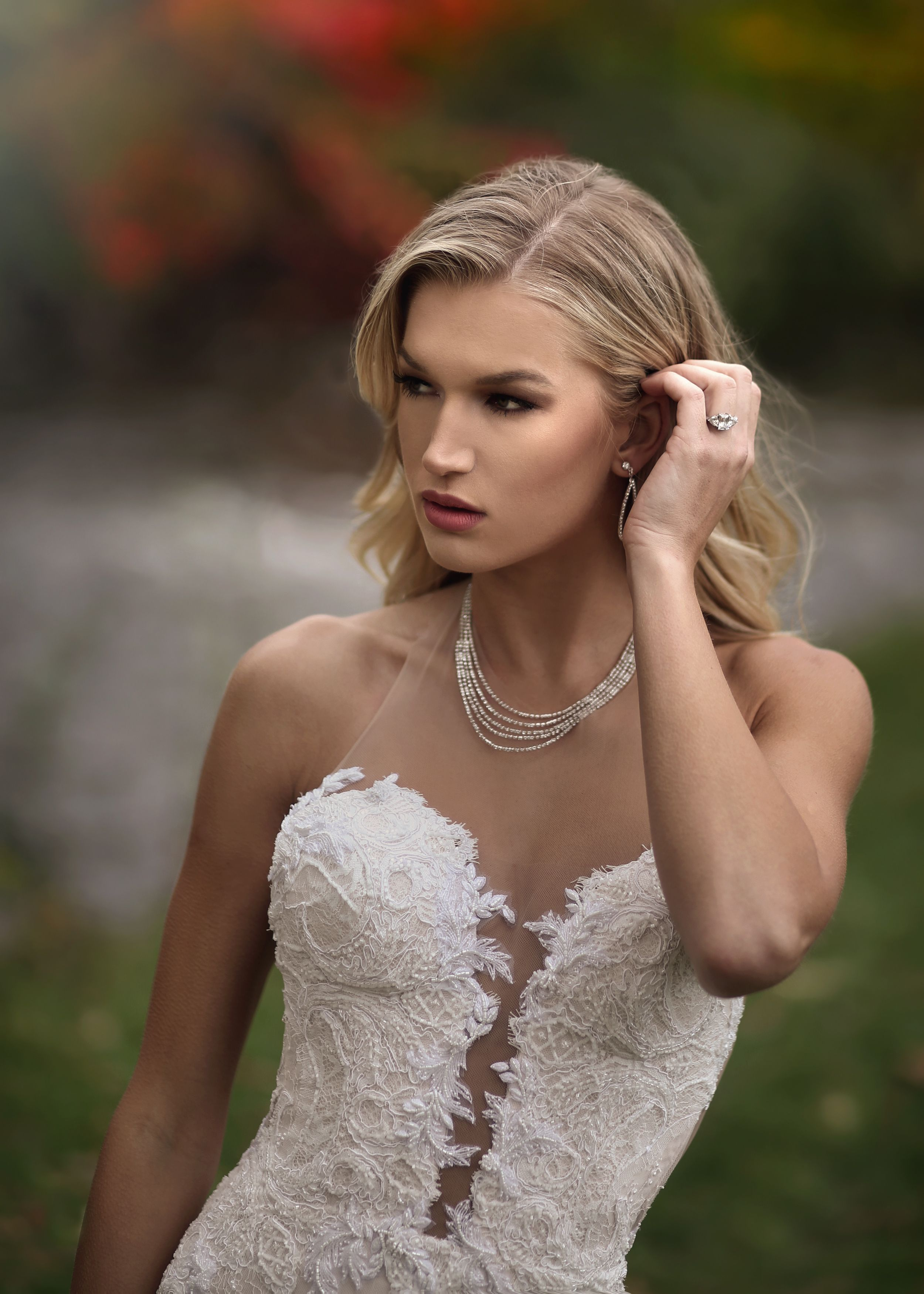 Plunging neckline lace wedding dresses from Solutions Bridal in ...
