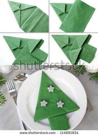 Christmas Tree Napkin Folding Stock Photo (Edit Now) 114891934
