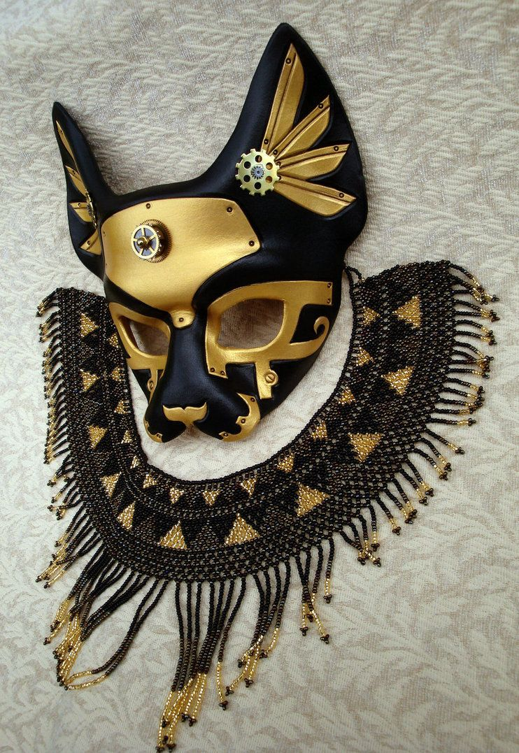 NEW! Demi Bast - Egyptian Cat Goddess Leather Mask in Black ...
