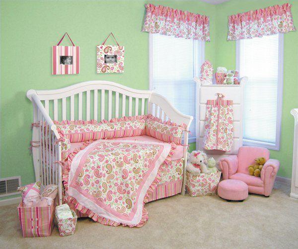 Grun Rosa Baby Bettwasche Babyzimmer Einrichten Rund Ums Baby