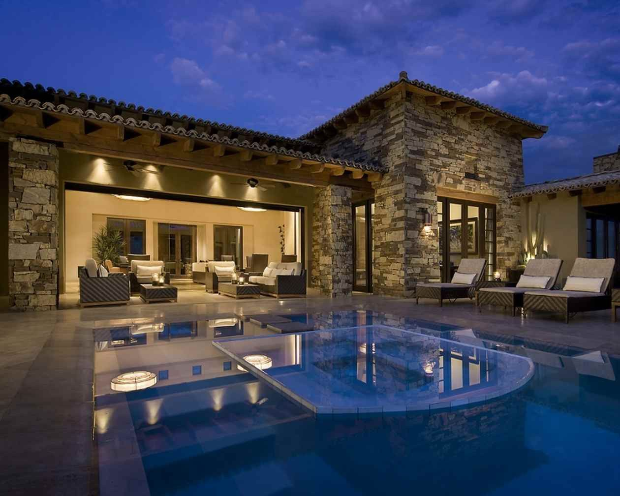 Home Building Ideas Part - 22: Exterior Modern Luxury Spanish Traditional House Design Ideas Resourcedir  With Awesome House Building Stone Walls And