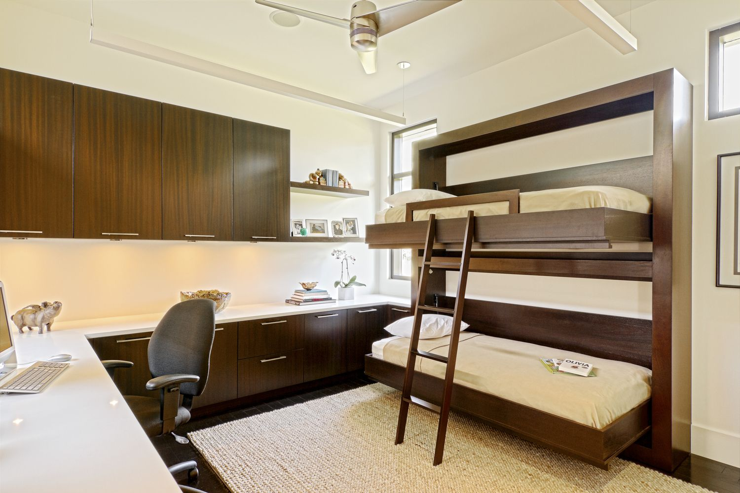 Double loft bed with desk  Limag  Murphy Beds  Pinterest  Murphy bed