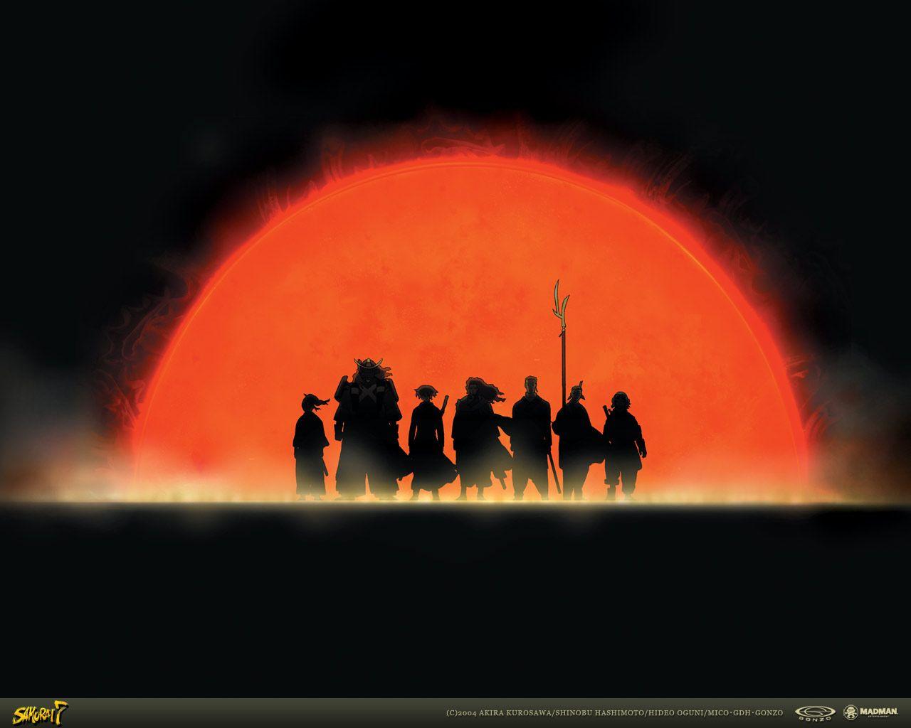 Silent Divergence Anime Group Samurai 7 Samurai Ninja Art