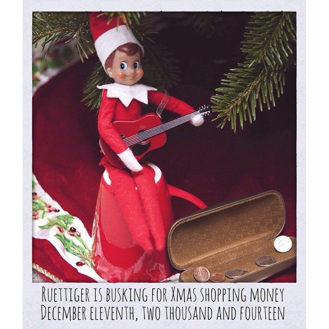 Busking for Christmas shopping money! #elfontheshelf