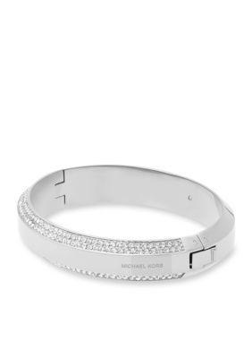 Michael Kors Jewelry  Silver-Tone Logo and Crystal Bangle Bracelet