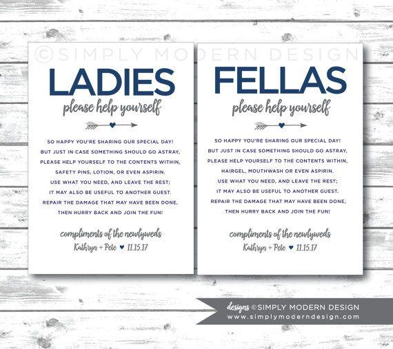 Bathroom Basket Sign Wedding Guest Restroom Las Fellas Digital File