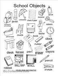 Resultado de imagen para school supplies worksheets
