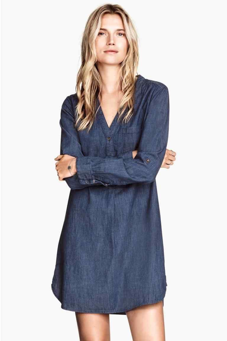 d12cb5fffba2 Longue chemise en jean H&M Tendenze Moda, Abiti Vestito, Abiti Denim, Top Di