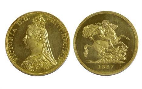 Lot 382: Victoria Jubilee head, gold proof £5 piece (1887). Very rare! Estimate £3500-£4500 Sale date 21st August 2013 www.afbrock.co.uk