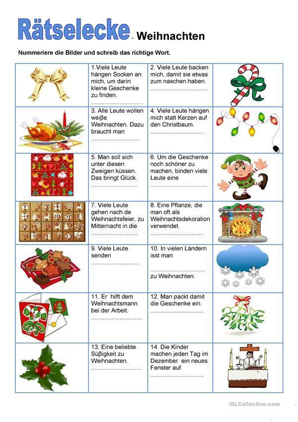 Rätselecke - Weihnachten | german | Pinterest | Arbeitsblätter ...