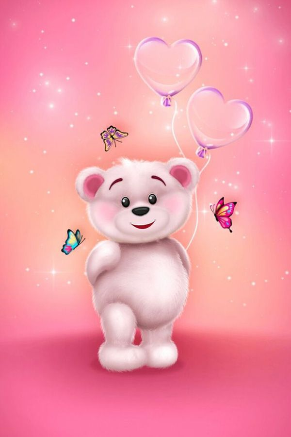 Pink Teddy Bear With Heart Kiss Love With Images Teddy Bear