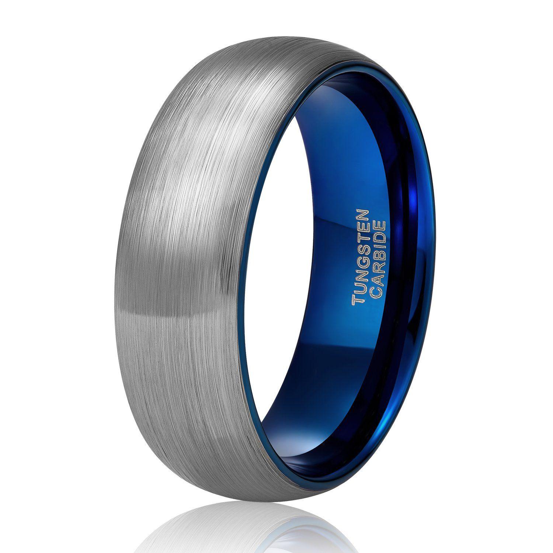 Tungsten Carbide Wedding Band for Men Women Silve Blue Two