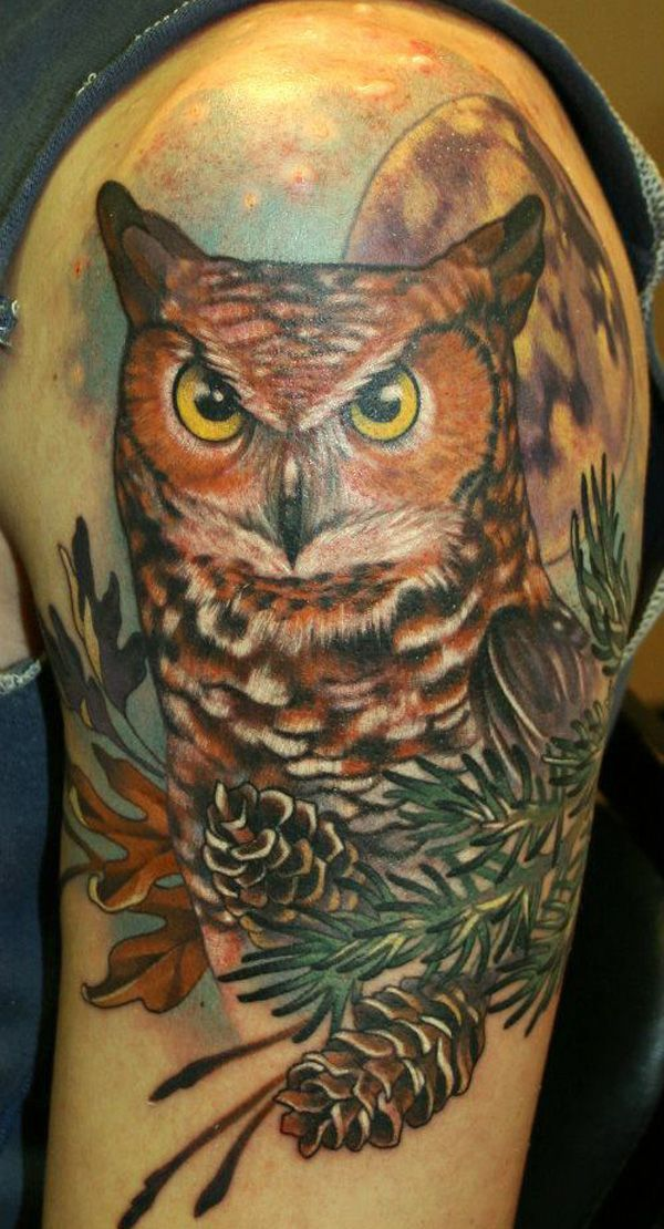 a6704dfdc6428 Interest tattoo ideas and design - Grey Horned Owl In Night Tattoo - like  the bottom details
