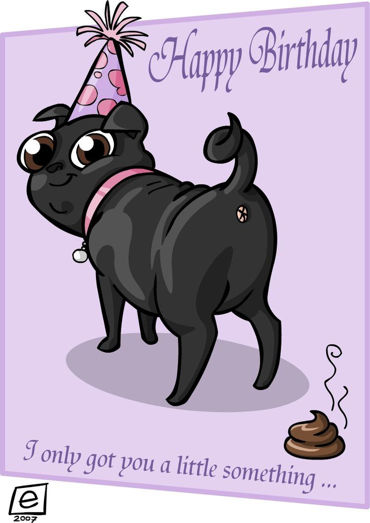 Birthday Pug By E4animation On Deviantart Happy Birthday Pug