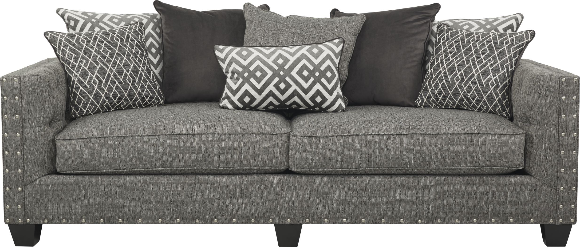 Best Cindy Crawford Home Chelsea Hills Gray Sofa Coastal 400 x 300