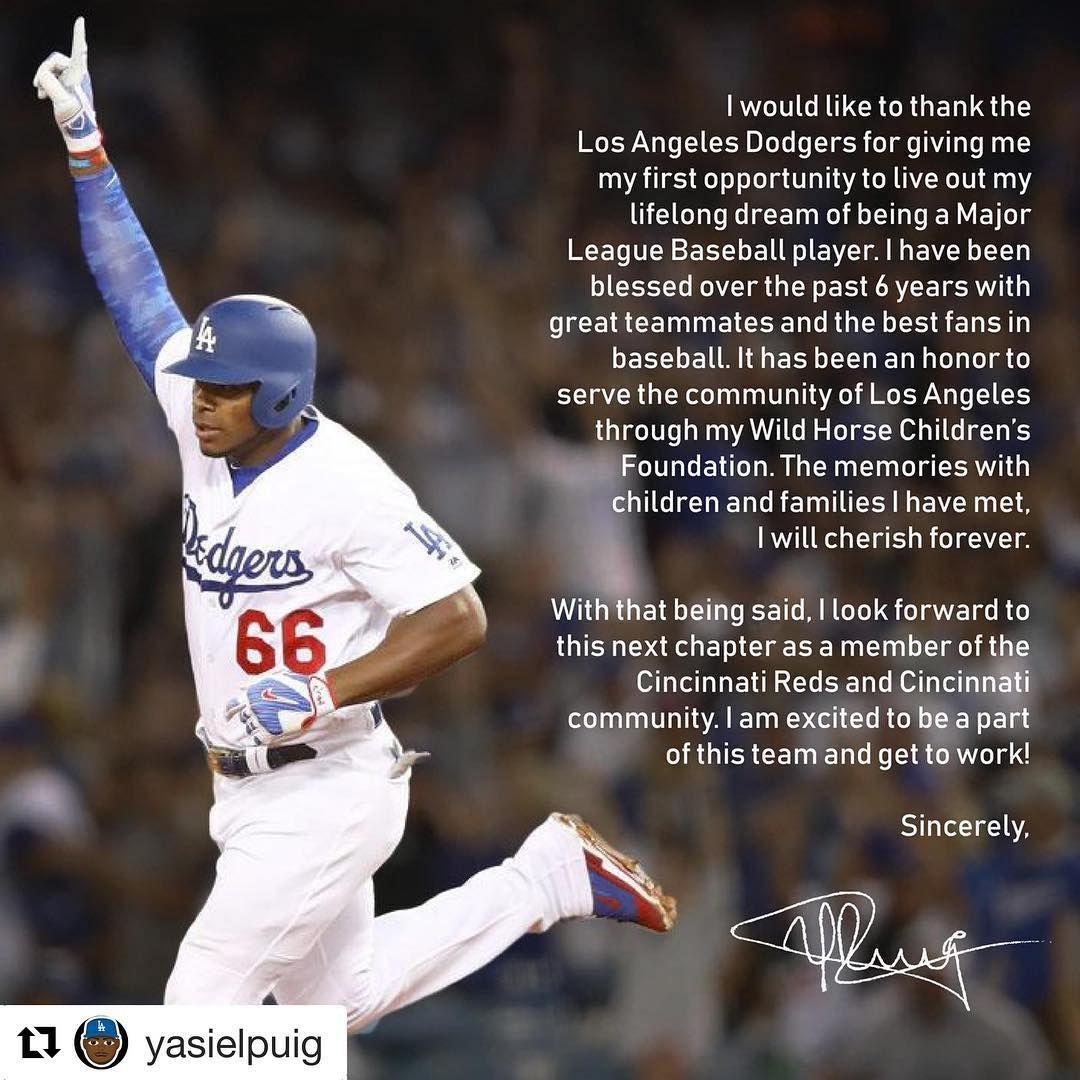 Am 570 La Sports On Instagram Yasielpuig Says Thank You To Losangeles Yasielpuig Dodgers Major League Baseball Players Los Angeles Dodgers