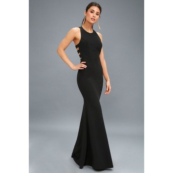 Lulus Power of Wow Black Backless Maxi Dress ($100) ❤ liked on ...