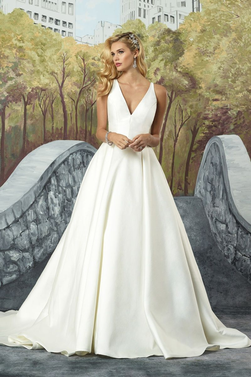 Justin Alexander Mikado Box Pleat Ball Gown with Beaded Illusion ...