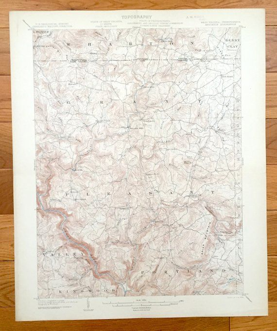 Antique Bruceton, West Virginia 1904 US Geological Survey
