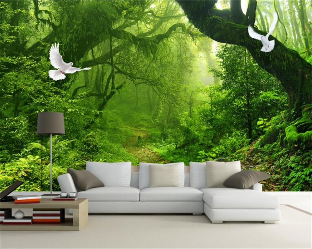 Wallpaper For Walls Green Forest Big Tree Background Mural 3d Living Room Bedroom Decorat Tree Wallpaper Mural Wallpaper Living Room Living Room Wall Wallpaper