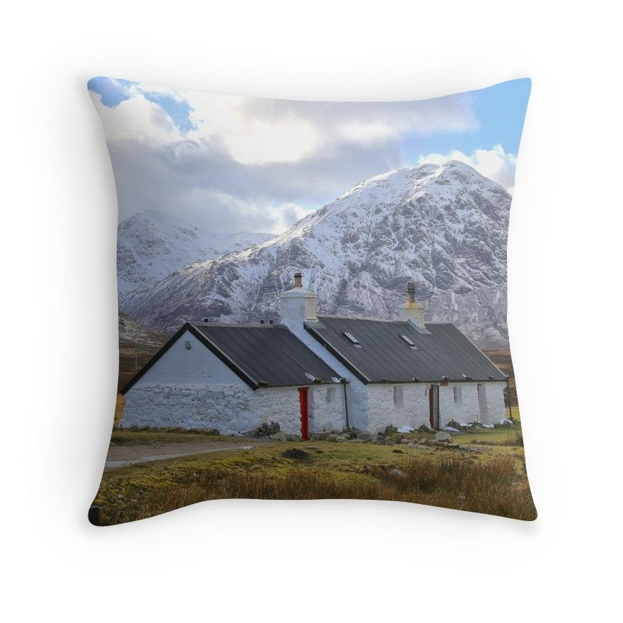 Black Rock Cottage In Glen Coe Throw Pillows Throw Pillows Black Rock Pillows