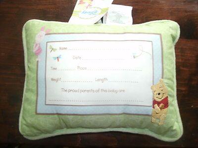 DISNEY WINNIE THE POOH BABY ANNOUNCEMENT KEEPSAKE PILLOW – Winnie the Pooh Birth Announcement