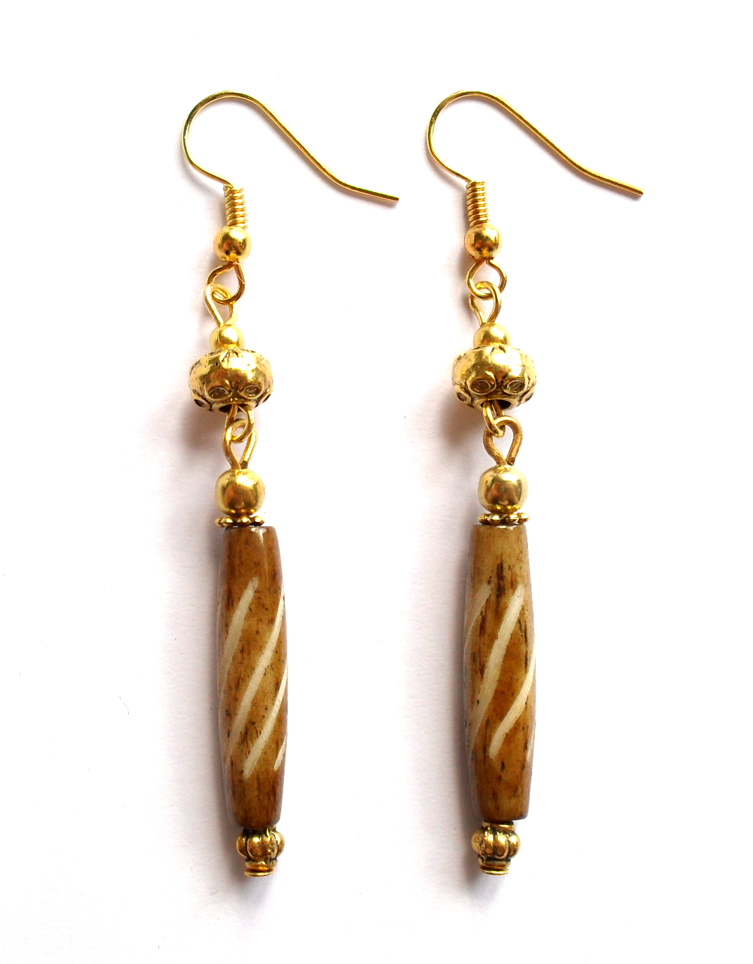 Earrings with wood beads.