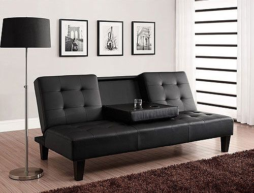 Man Cave Futon : Futon with fold down cup holder tray great for watching movies