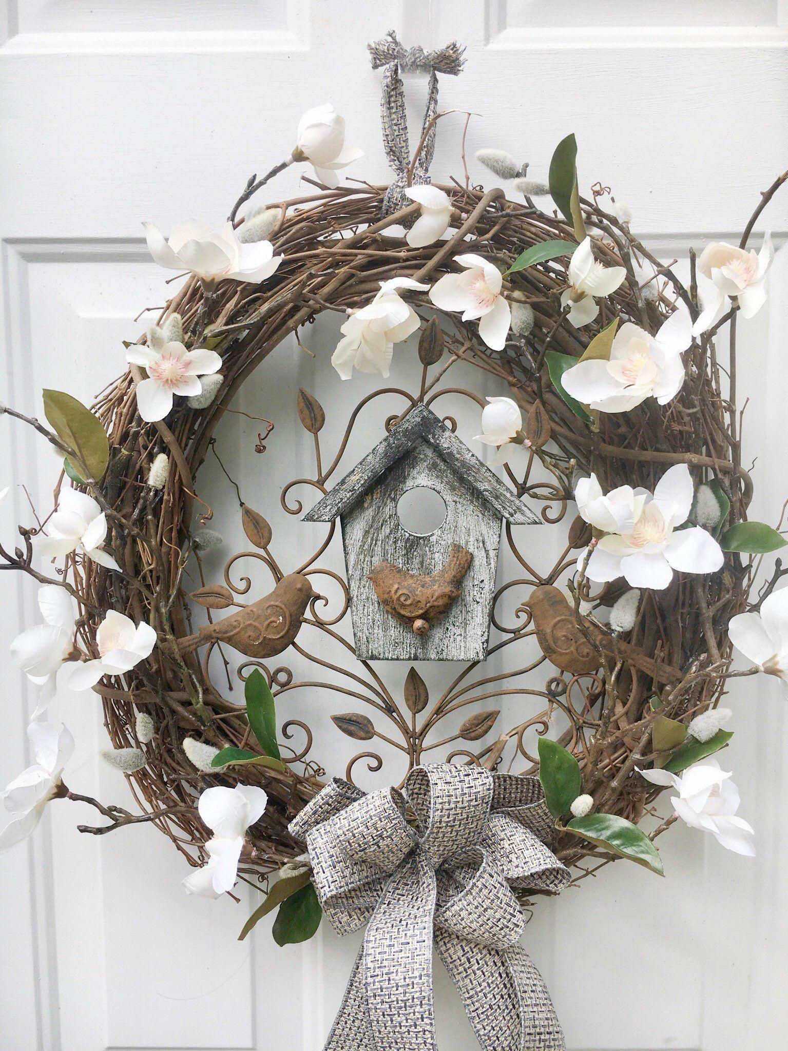 Photo of Rustic home decor front door wreath – magnolia farmhouse wreath – grapevine door hanger farmhouse style – gift for mom