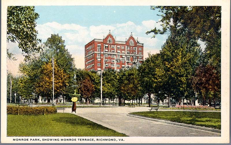 Postcard image of Monroe Park, ca.1920.  The image shows what is now VCU's Johnson Hall, built 1913.
