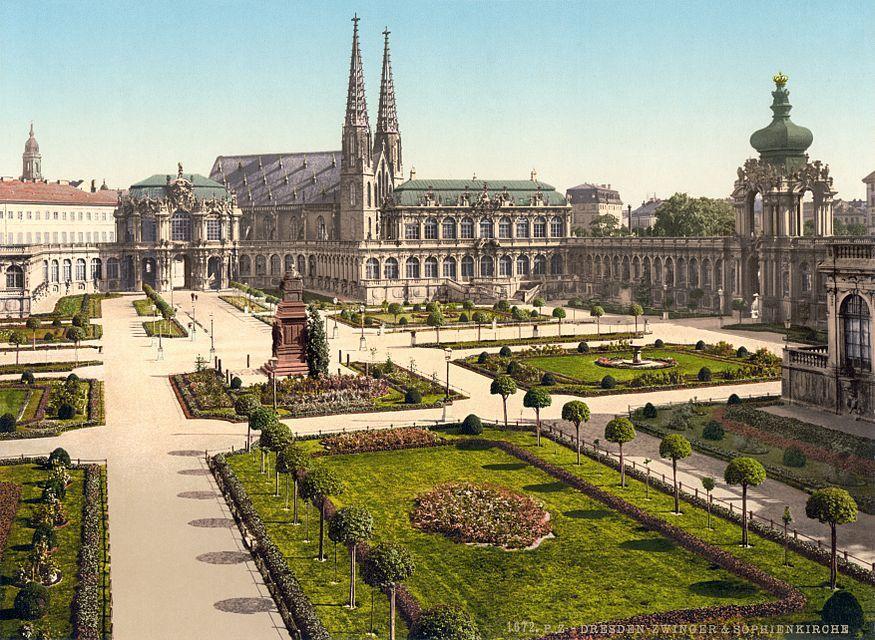 Zwingerhof Und Sophienkirche Photochromdruck Um 1900 Deutschland Burgen Zwinger Dresden Dresden