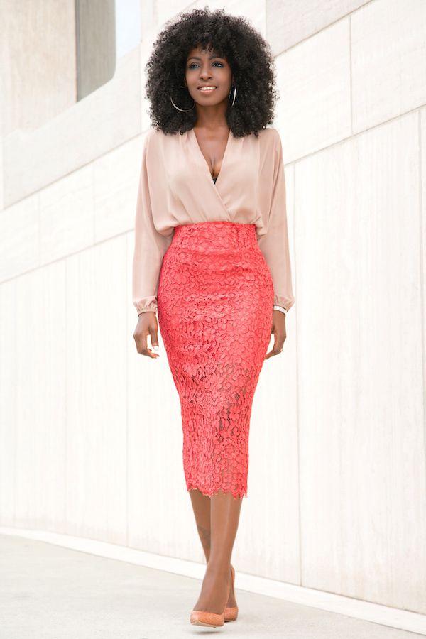 58234eb7b3f33 Long Sleeve Faux Wrap Blouse + Lace Pencil Midi Skirt