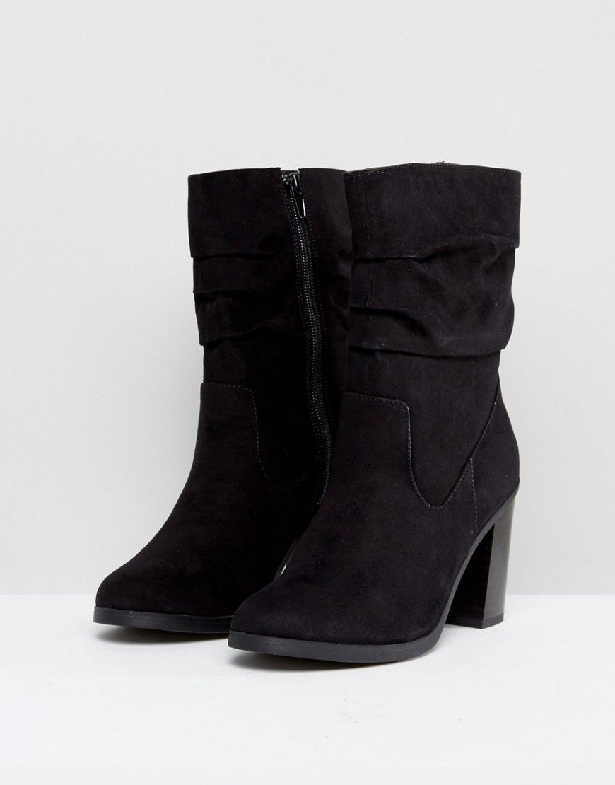 a51caad228a New Look Slouch Mid Calf Heeled Boot   shoes   Boots, Black heel ...