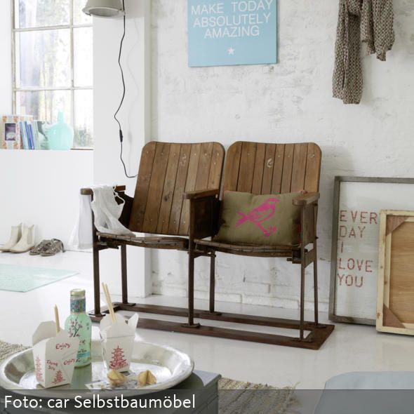 Vintage living room with old cinema seats via car möbel | home d ...