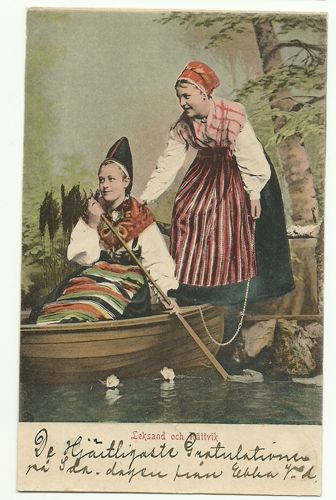Sweden postcard WOMEN Folk Costume Dalarna early 1900s