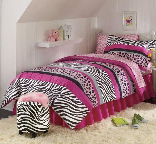 Jungle Queen Wild Zebra Animal Print Safari Black Pink Bed