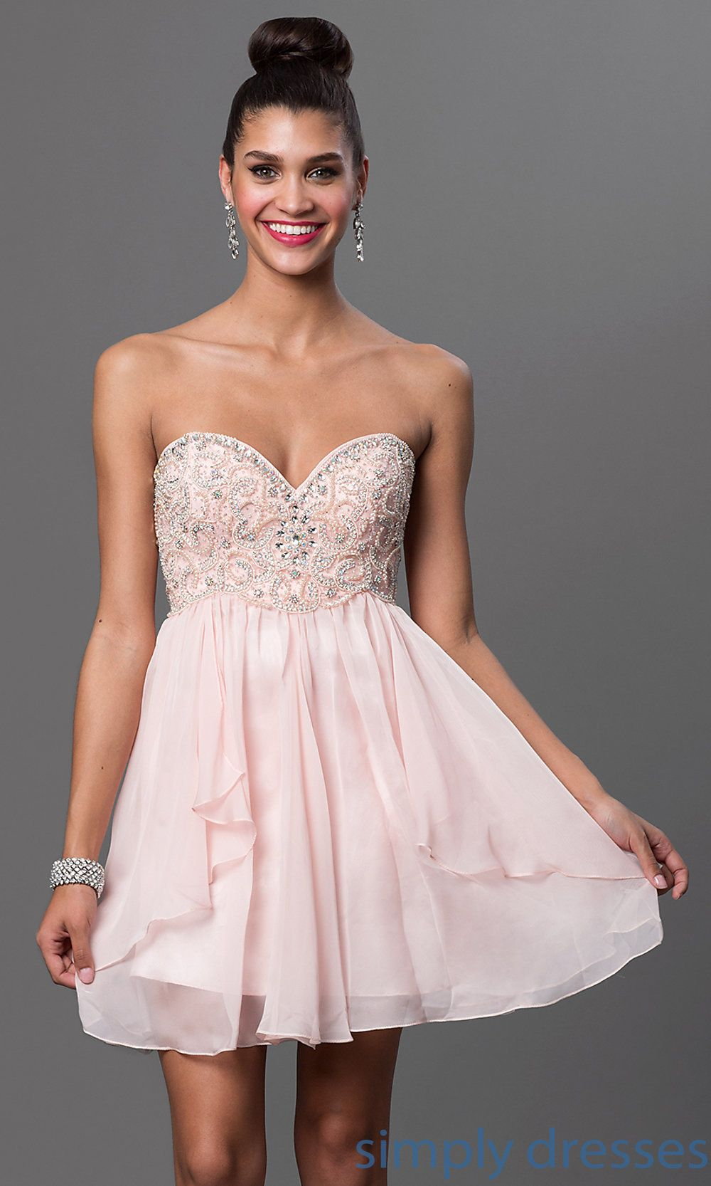 Strapless Party Dress Babydoll Short Prom Dress Simply Dresses Strapless Party Dress Dresses Evening Dresses For Weddings [ 1666 x 1000 Pixel ]