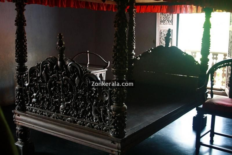 Beautiful sapramanjil kattil (wood canopy bed) at Padmanabhapuram palace