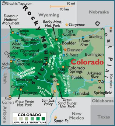Map of Colorado CO | Colorado | Colorado, Denver colorado, Colorado ...