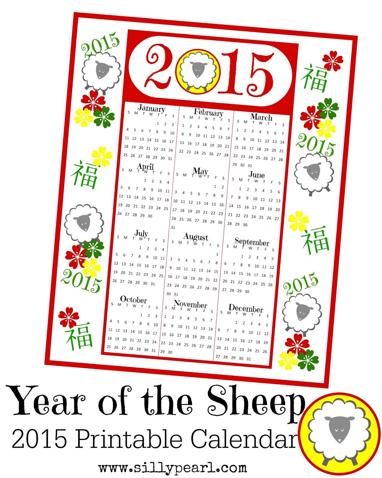 Year Of The Sheep Free Printable Calendar