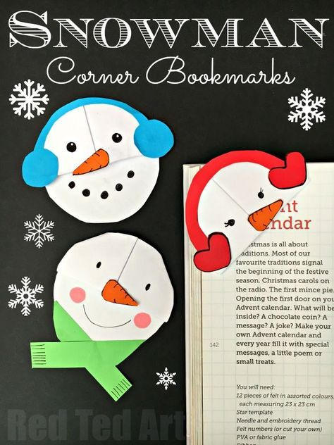 Snowman Bookmark Design Bookmarks, Snowman and Craft