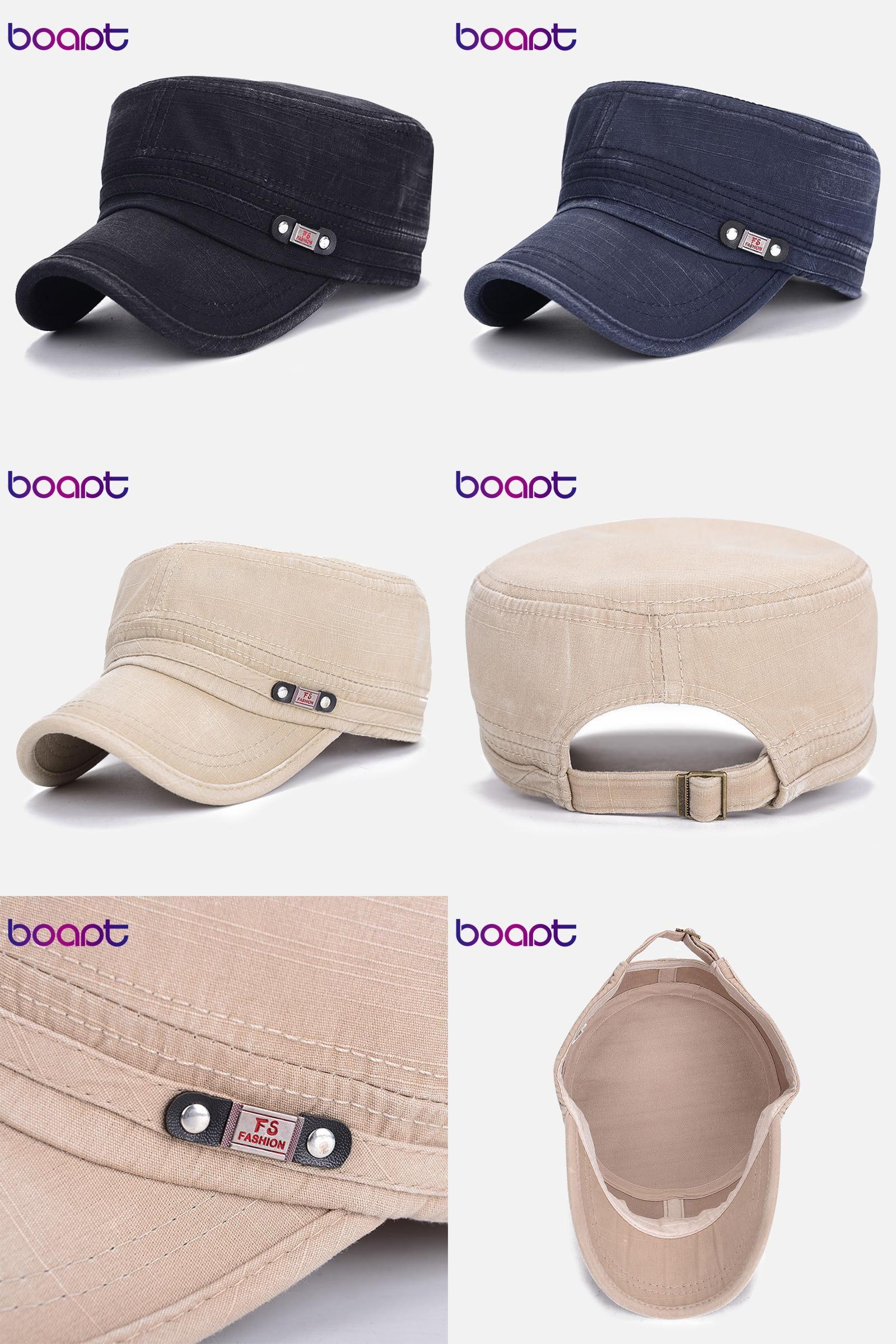 24549f15c7571  Visit to Buy  BOAPT metal label summer flat top hat cotton casual snapback  cap